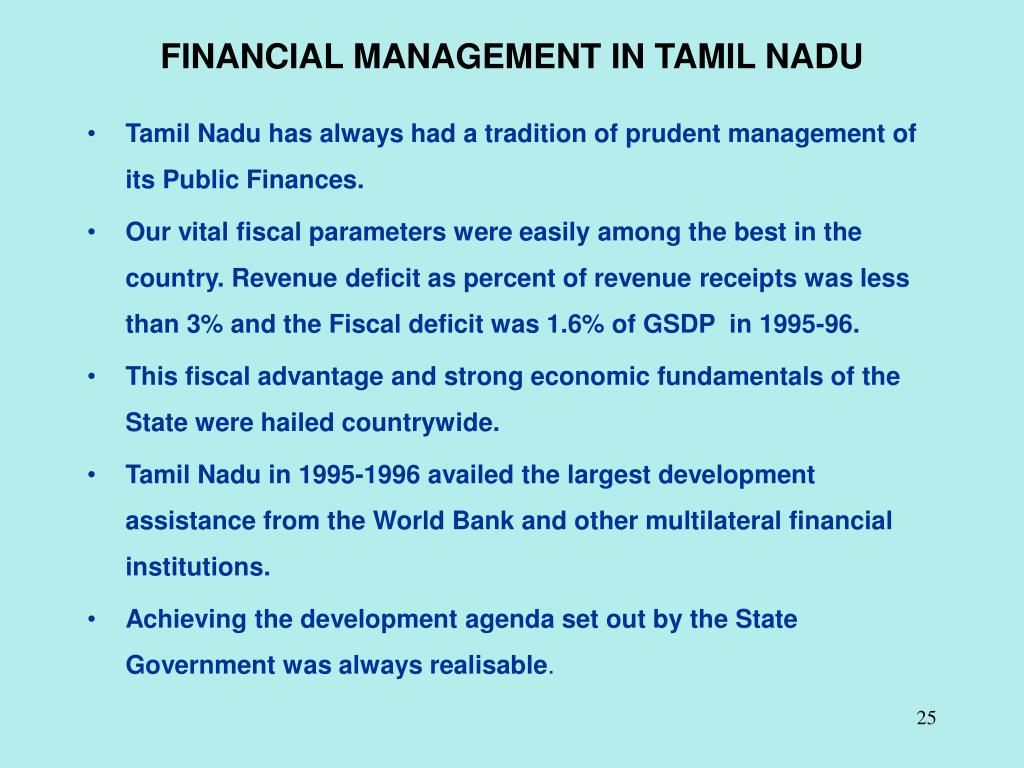 FINANCIAL MANAGEMENT IN TAMIL NADU