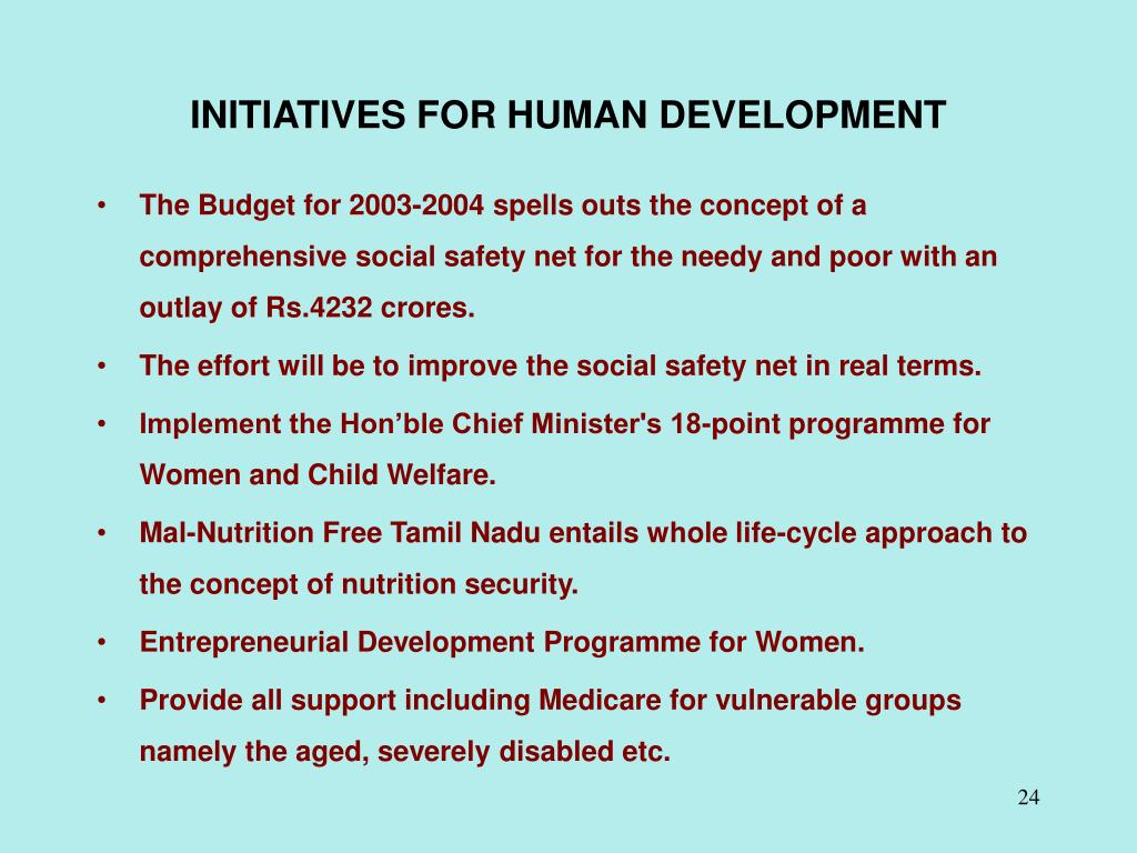 INITIATIVES FOR HUMAN DEVELOPMENT