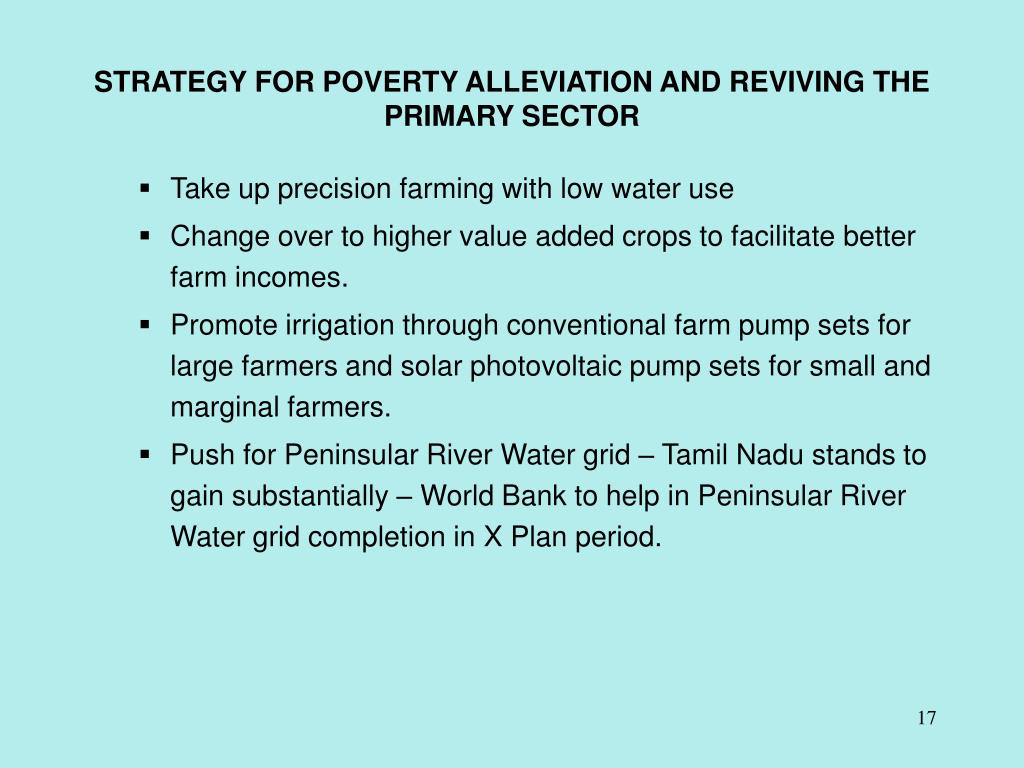 STRATEGY FOR POVERTY ALLEVIATION AND REVIVING THE PRIMARY SECTOR