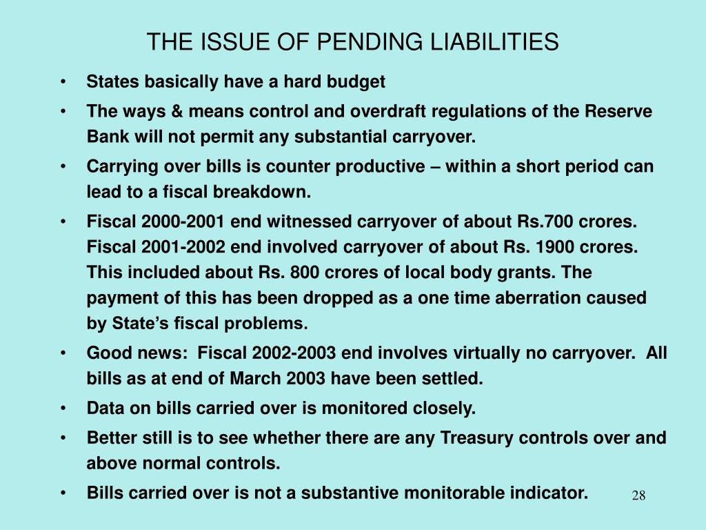 THE ISSUE OF PENDING LIABILITIES