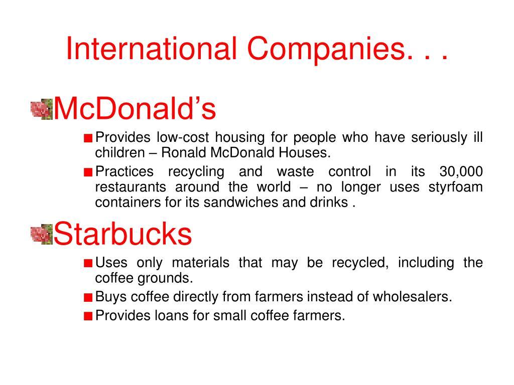 International Companies. . .