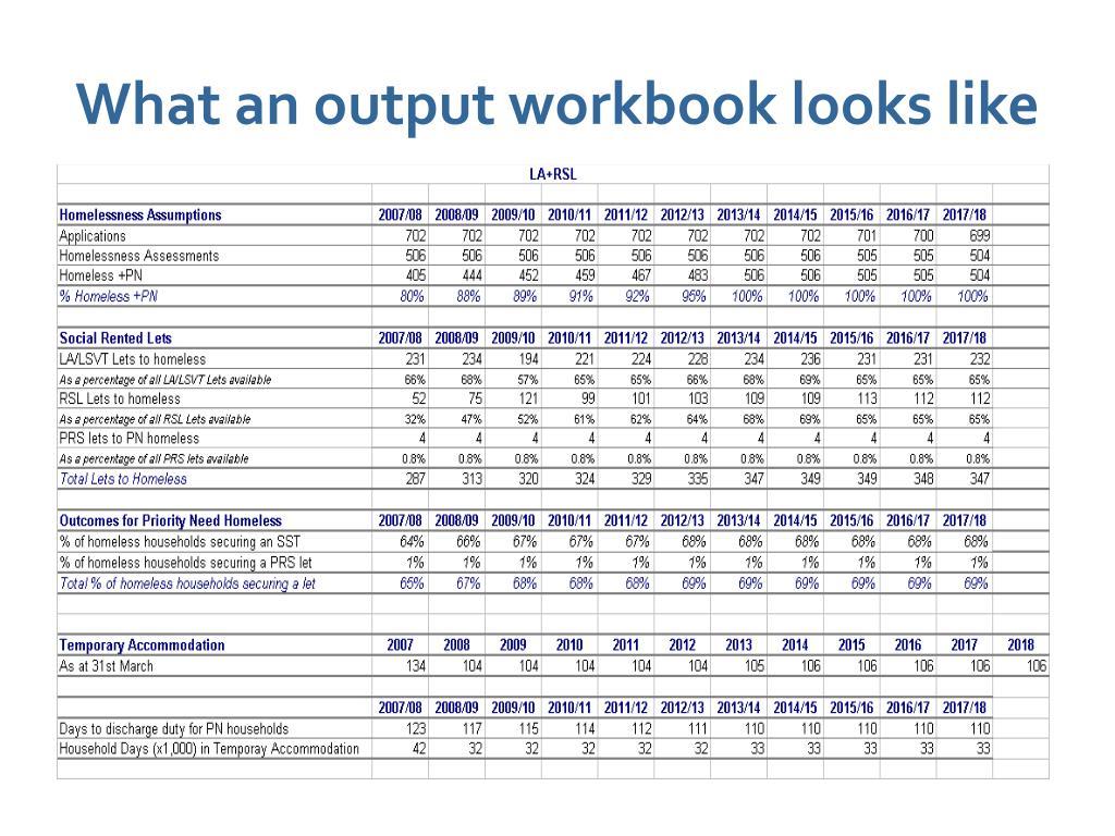 What an output workbook looks like