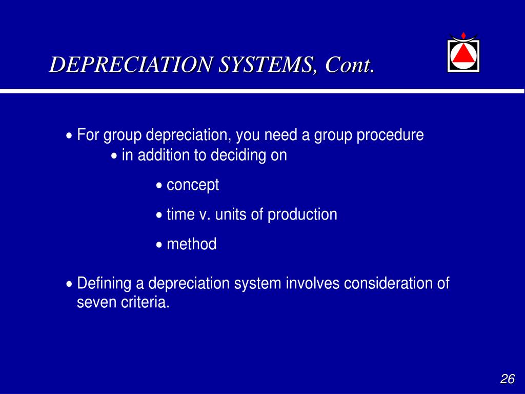 DEPRECIATION SYSTEMS, Cont.