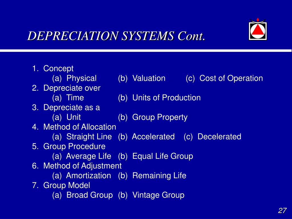 DEPRECIATION SYSTEMS Cont.