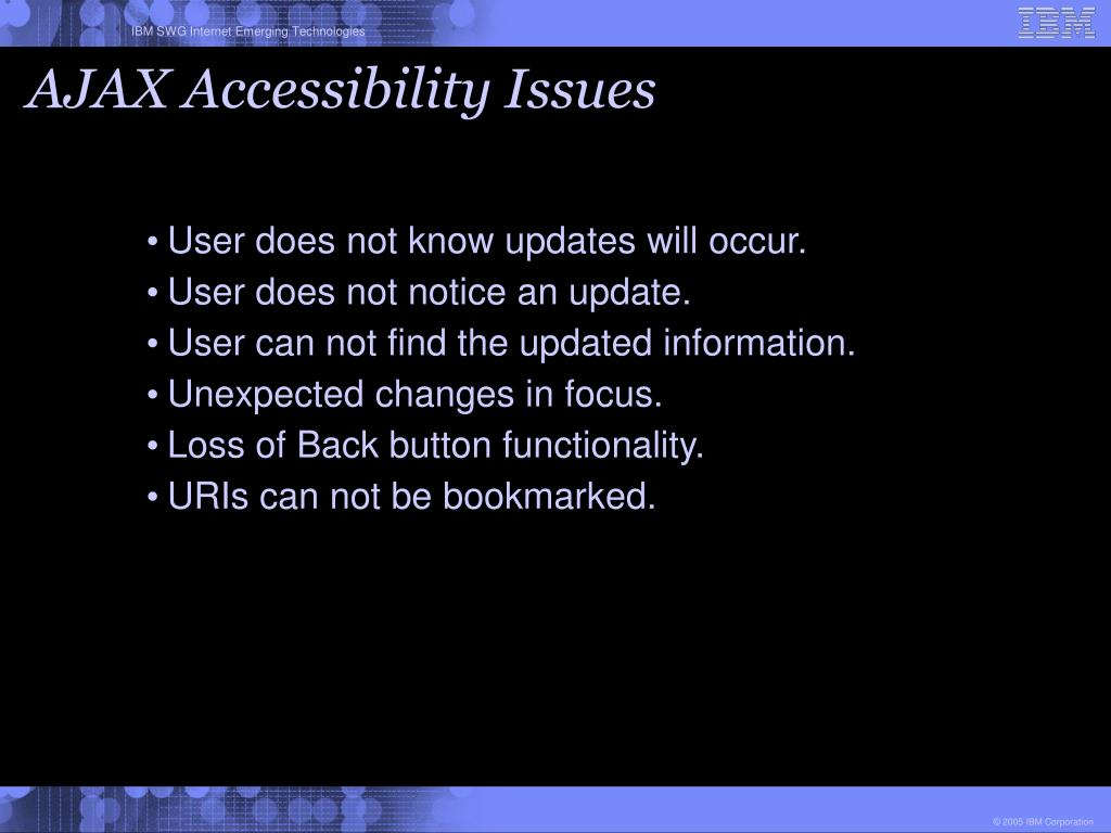 AJAX Accessibility Issues