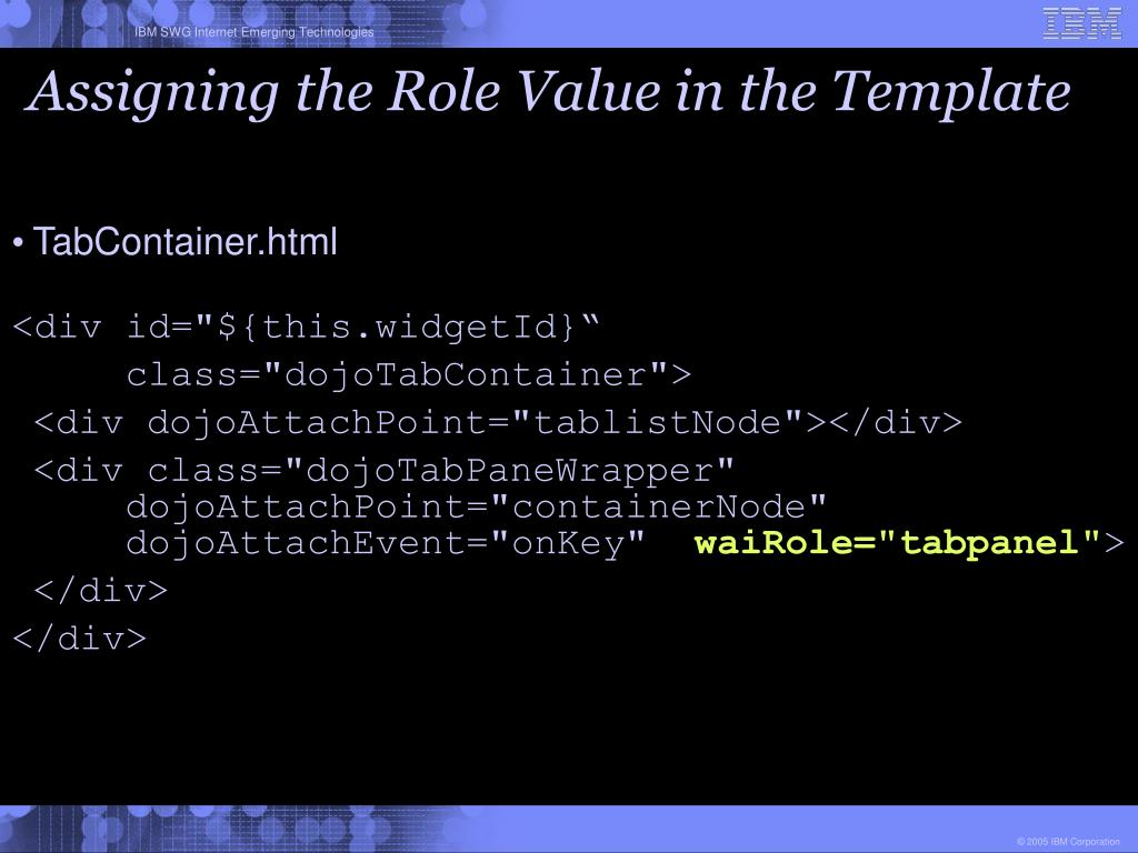 Assigning the Role Value in the Template