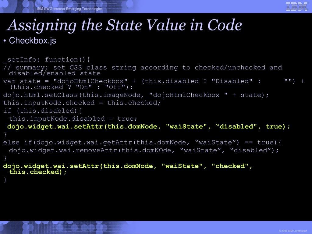 Assigning the State Value in Code