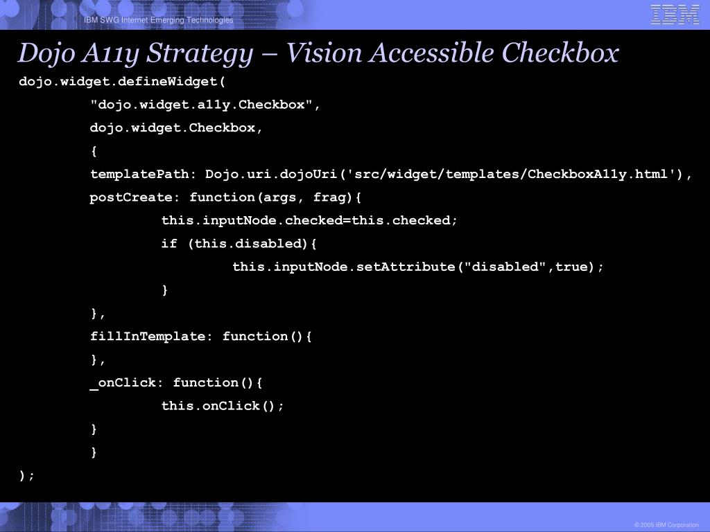 Dojo A11y Strategy – Vision Accessible Checkbox