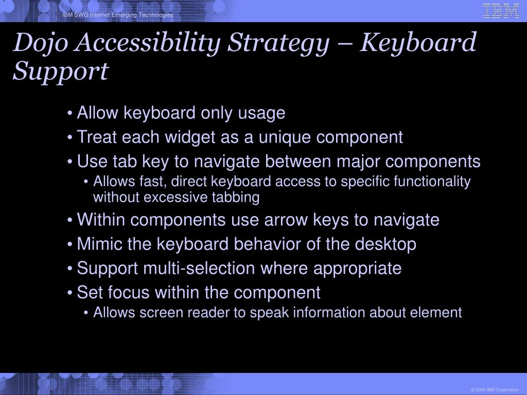 Dojo Accessibility Strategy – Keyboard Support