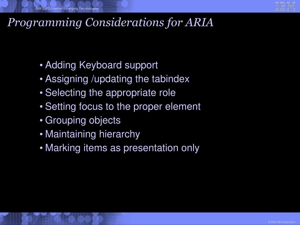 Programming Considerations for ARIA