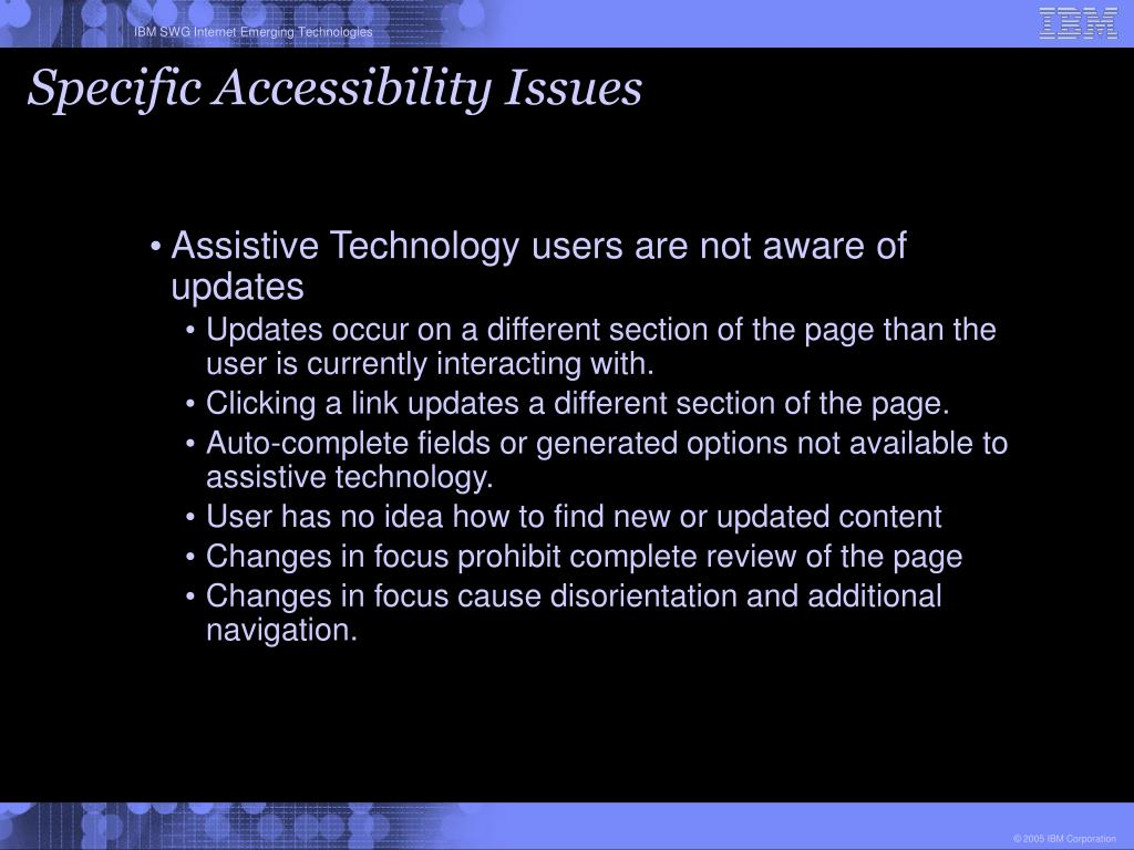 Specific Accessibility Issues
