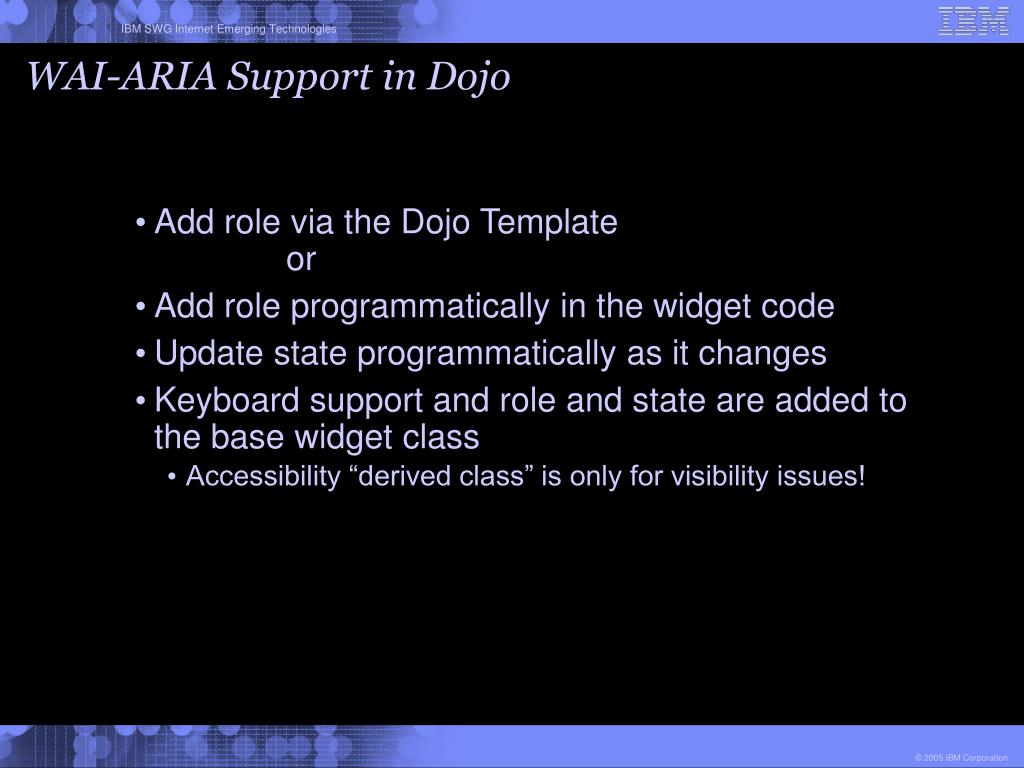 WAI-ARIA Support in Dojo