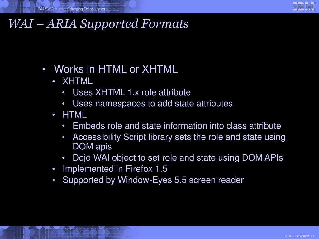 WAI – ARIA Supported Formats