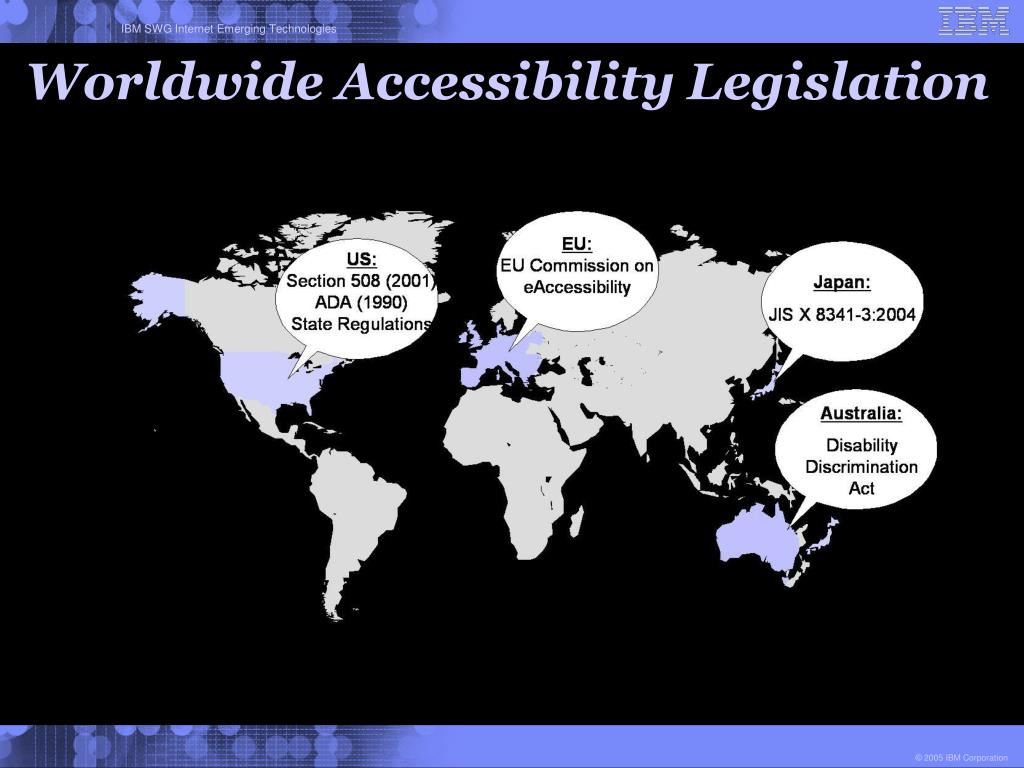 Worldwide Accessibility Legislation