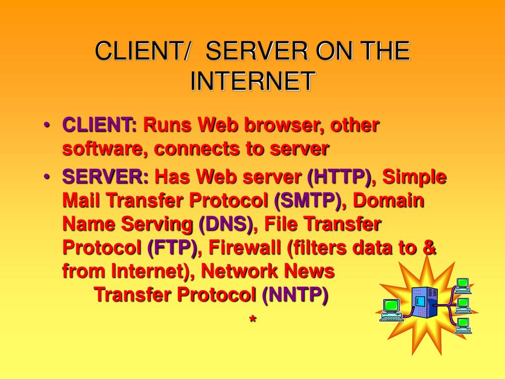 CLIENT/  SERVER ON THE INTERNET