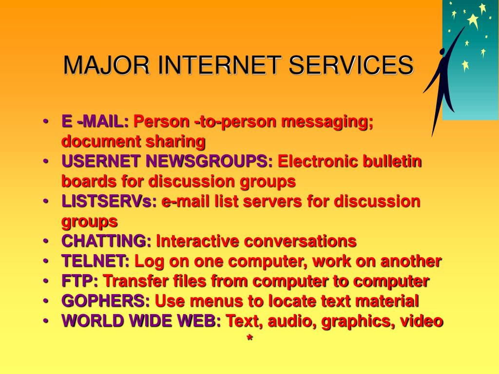 MAJOR INTERNET SERVICES