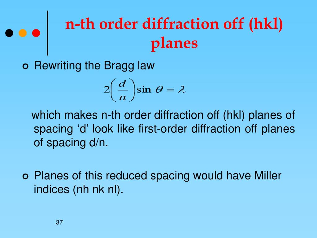 n-th order diffraction off (hkl) planes