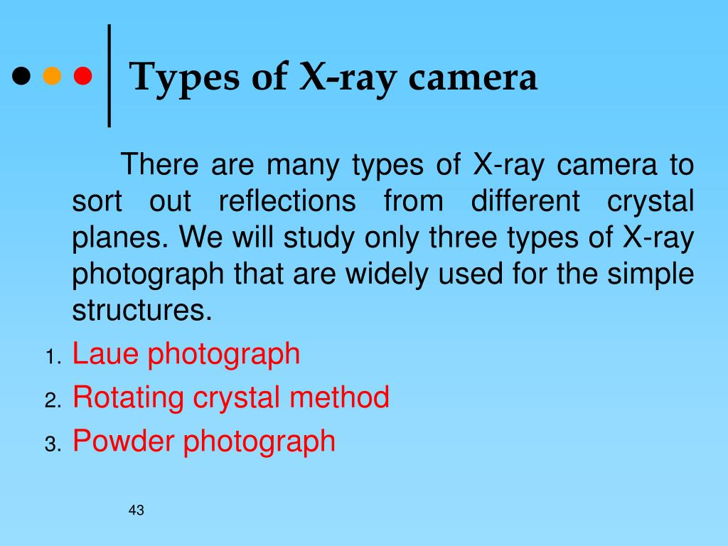 Types of X-ray camera