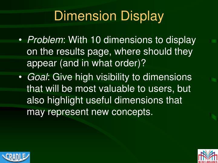 Dimension Display