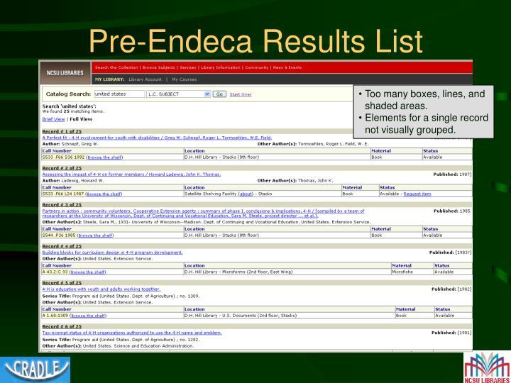 Pre-Endeca Results List