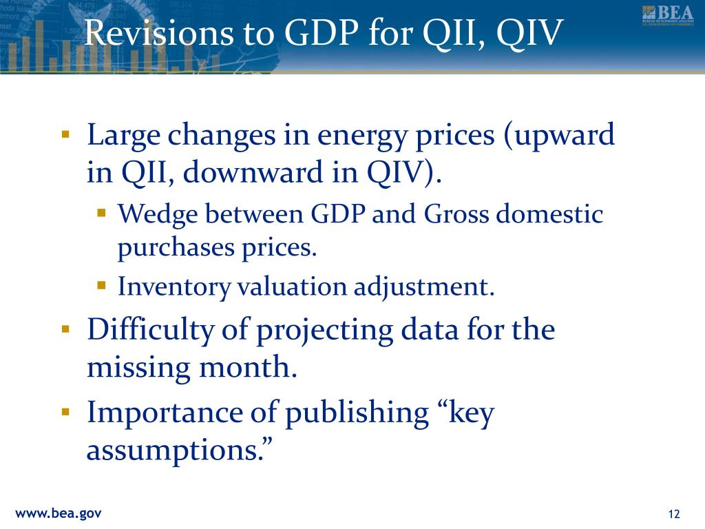 Revisions to GDP for QII, QIV