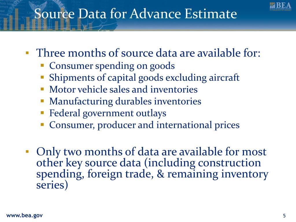 Source Data for Advance Estimate