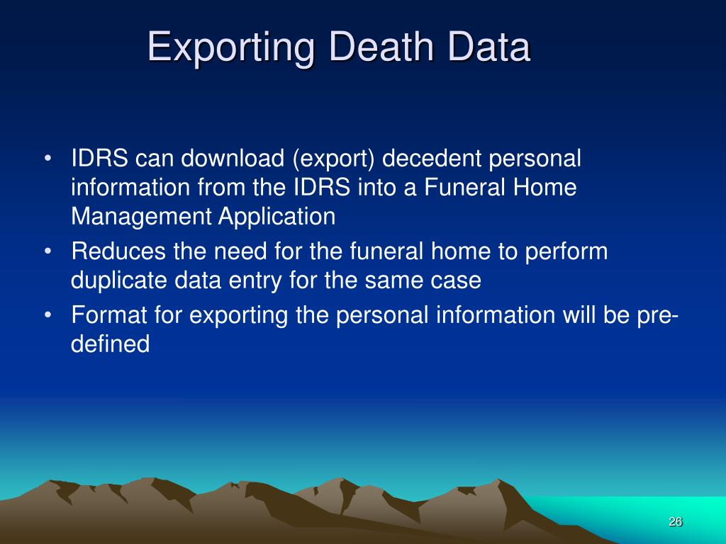 Exporting Death Data