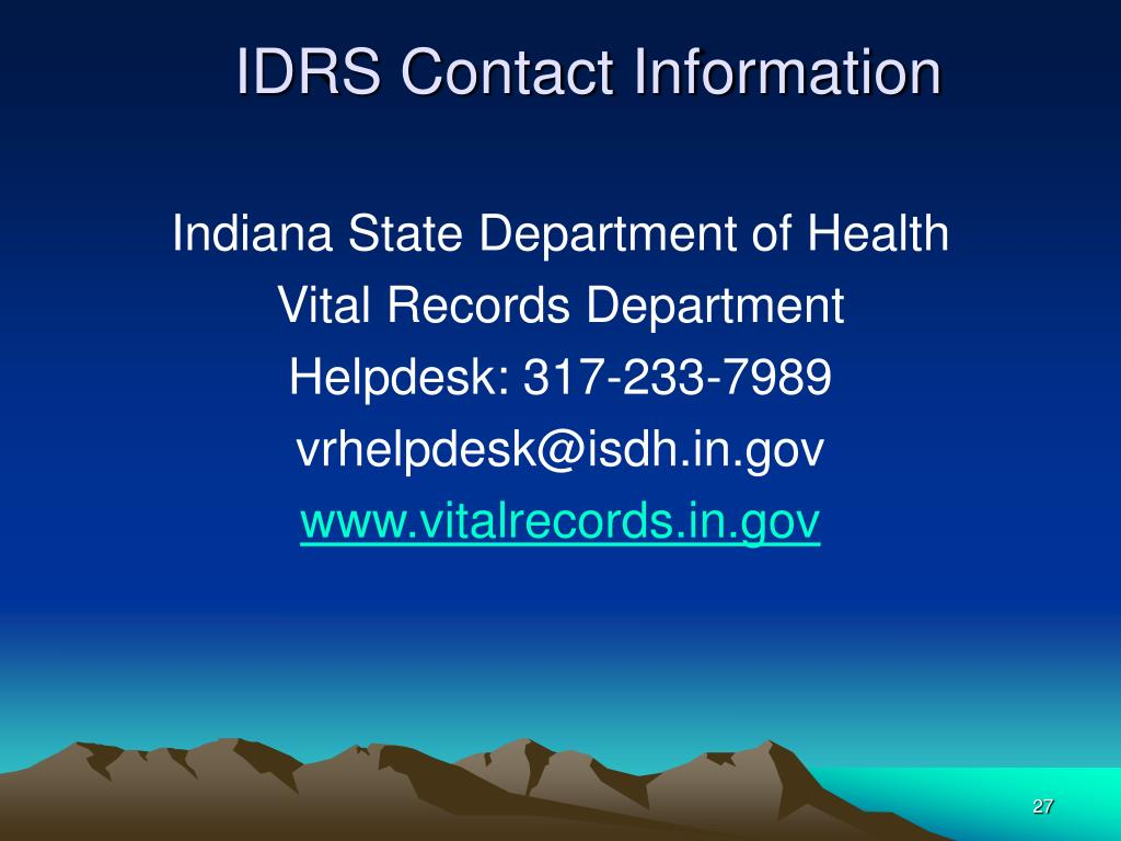 IDRS Contact Information