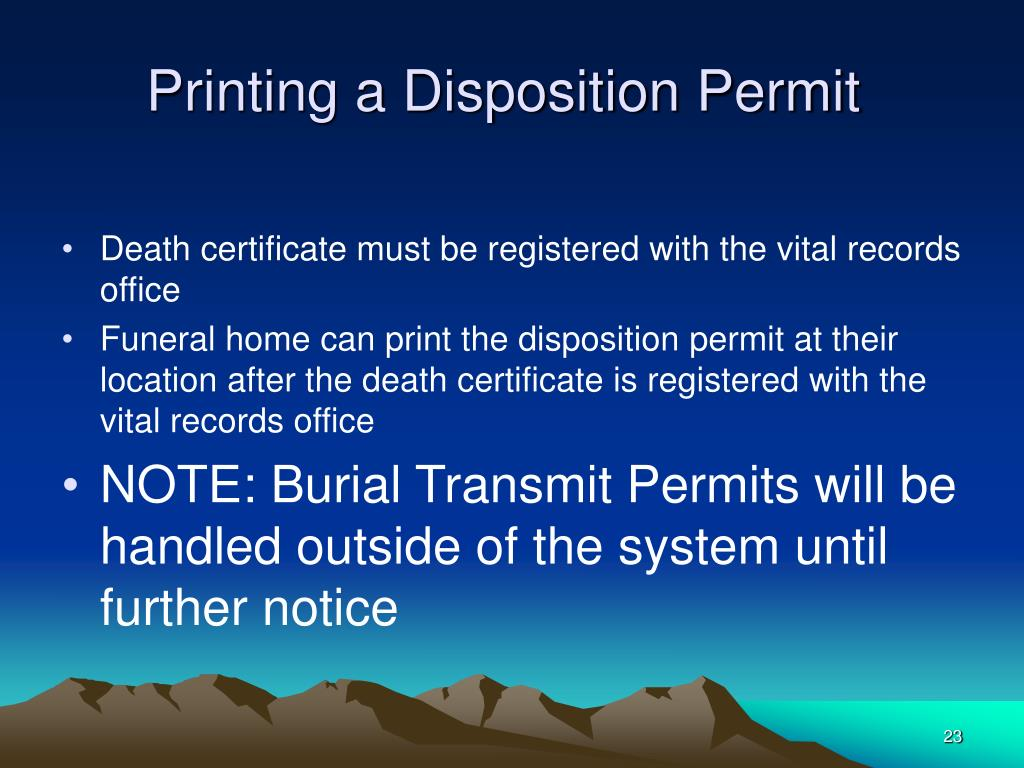 Printing a Disposition Permit