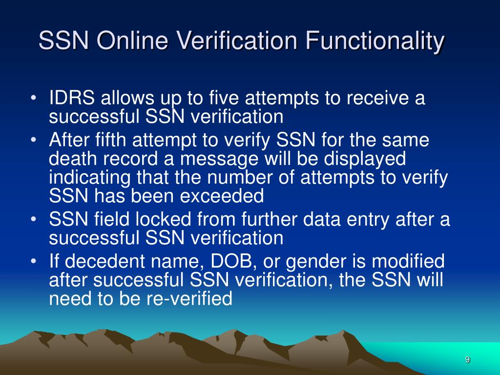 SSN Online Verification Functionality