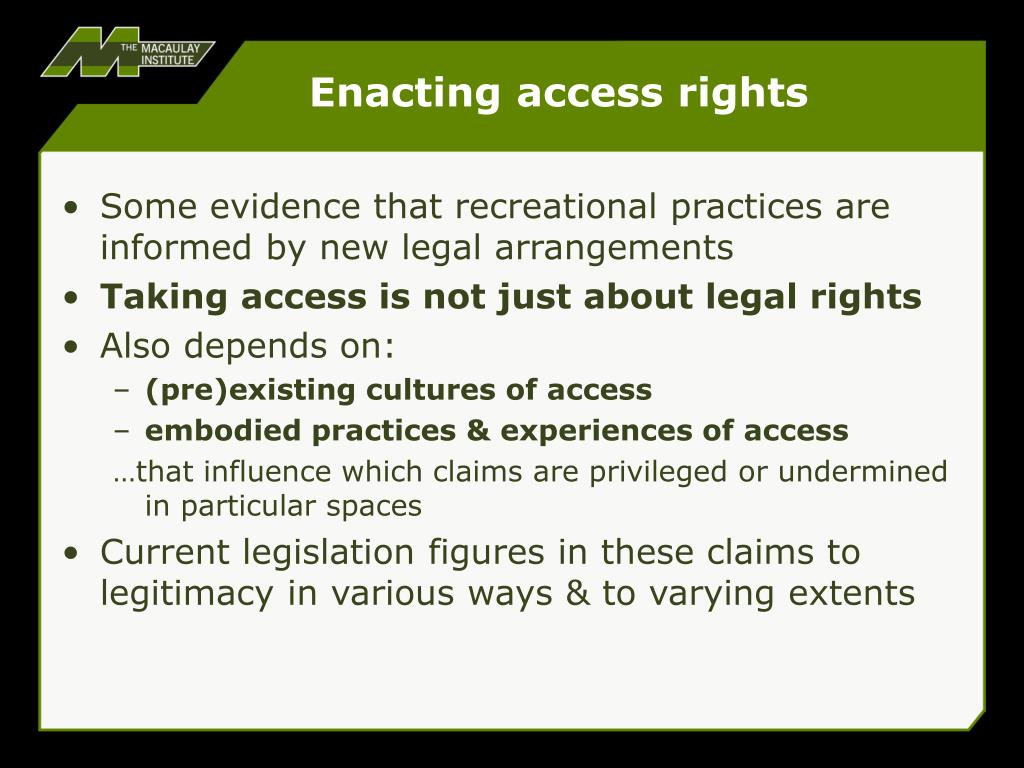 Enacting access rights
