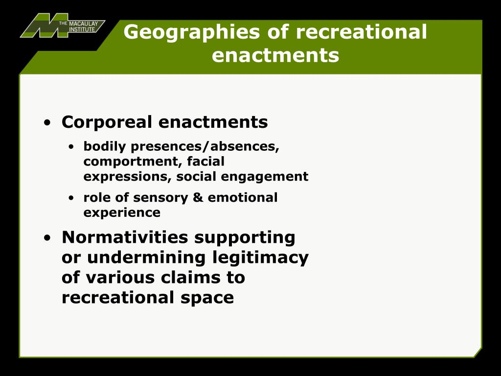 Geographies of recreational enactments