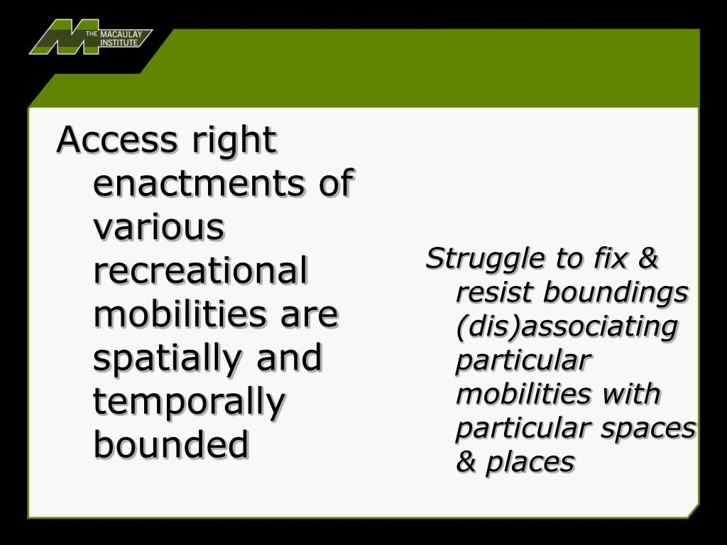 Access right enactments of various recreational mobilities are spatially and temporally bounded