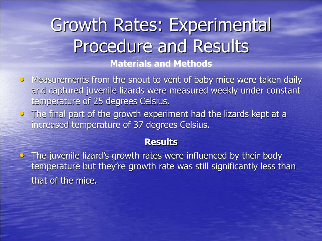 Growth Rates: Experimental Procedure and Results