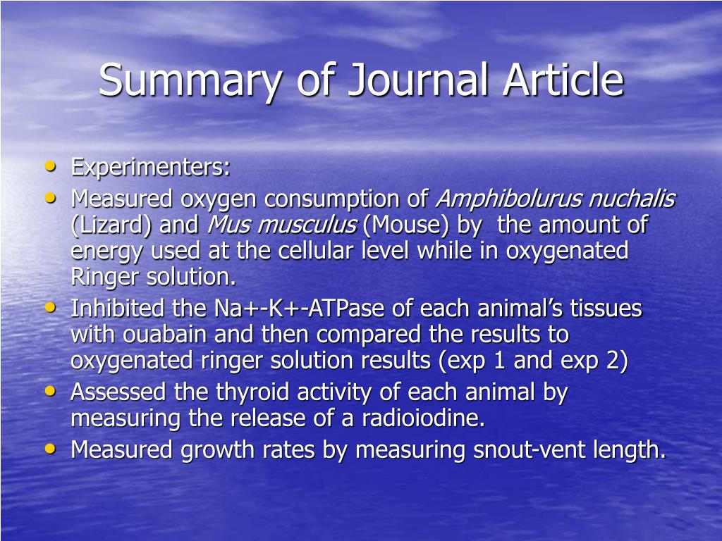 Summary of Journal Article