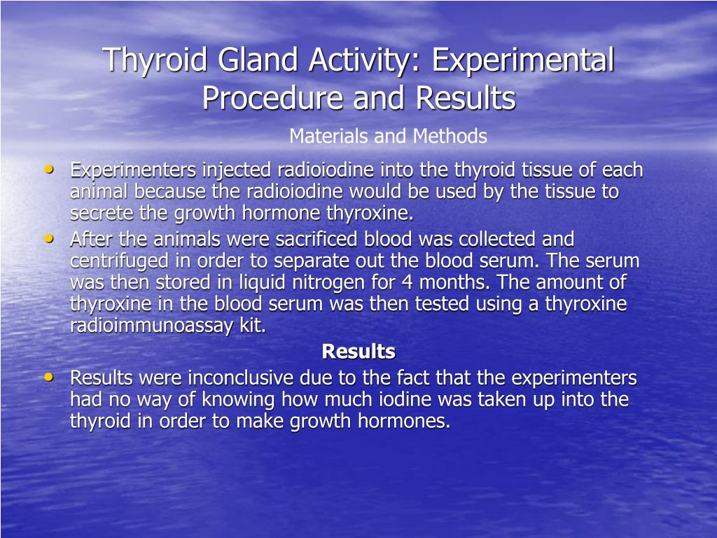 Thyroid Gland Activity: Experimental Procedure and Results