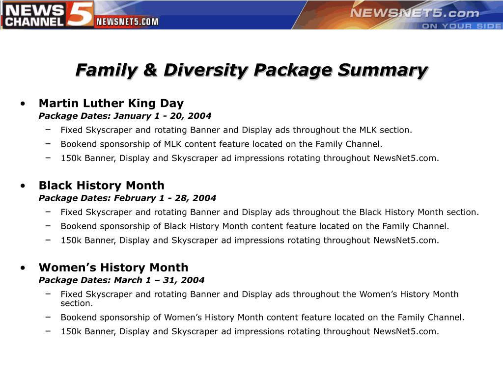 Family & Diversity Package Summary