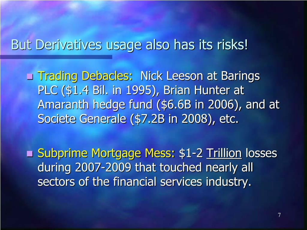 But Derivatives usage also has its risks!