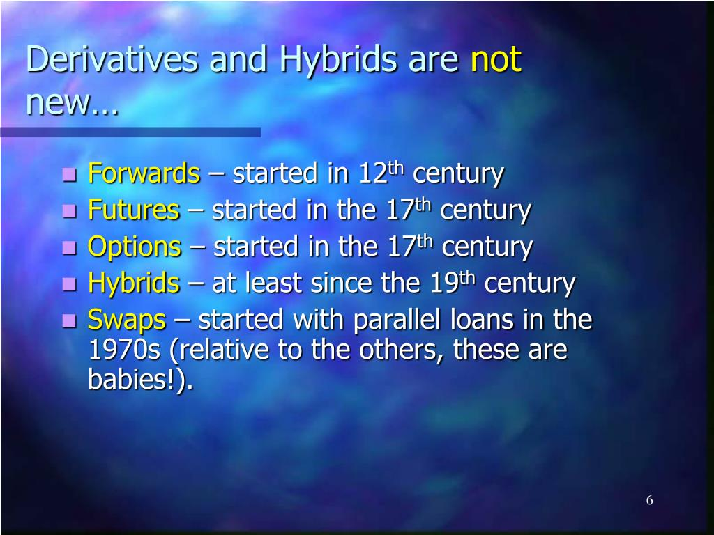 Derivatives and Hybrids are