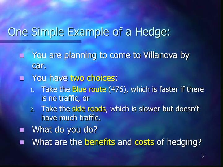 One simple example of a hedge