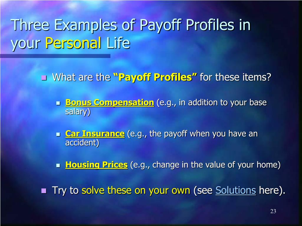 Three Examples of Payoff Profiles in your