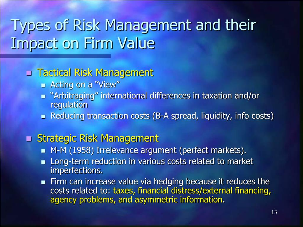 Types of Risk Management and their Impact on Firm Value