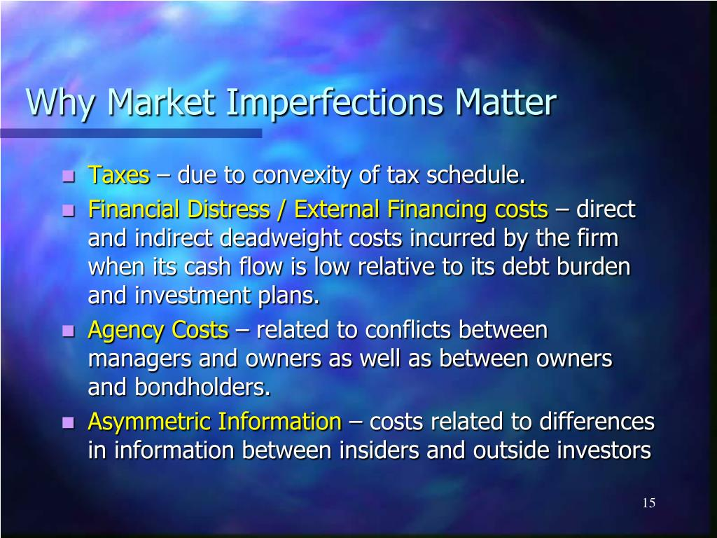 Why Market Imperfections Matter