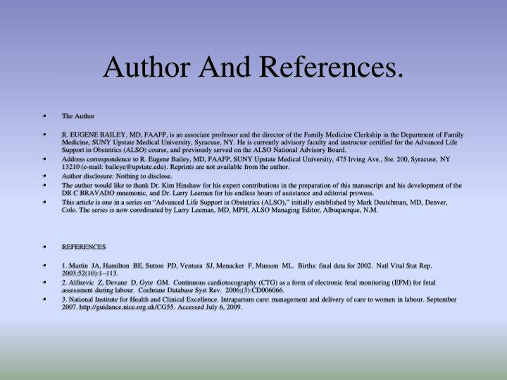 Author And References.