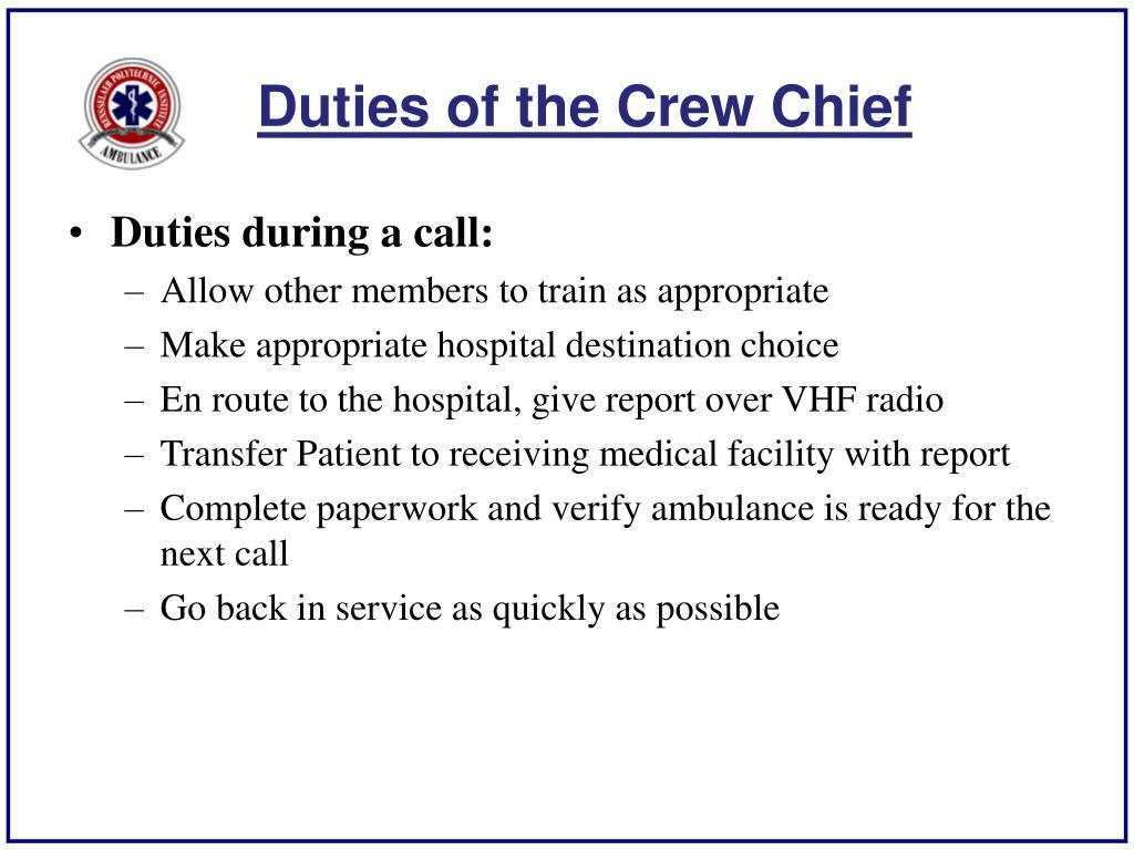 Duties of the Crew Chief