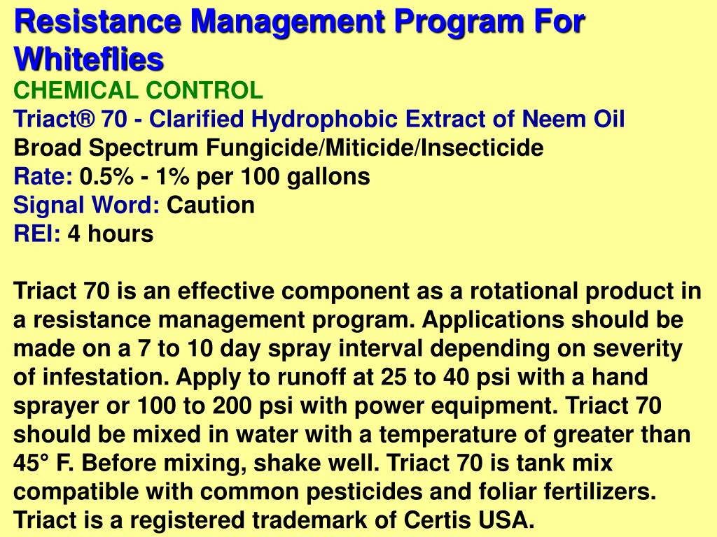 Resistance Management Program For Whiteflies