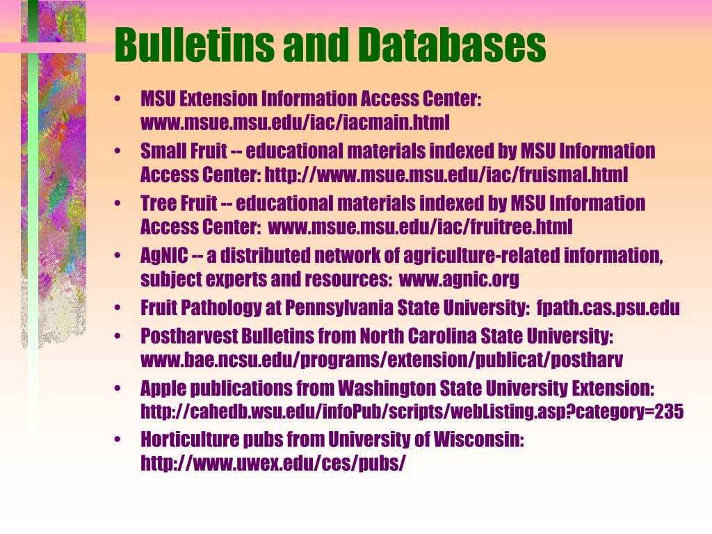Bulletins and Databases