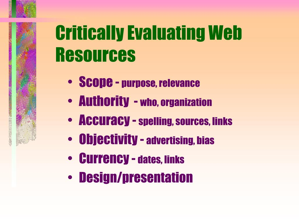 Critically Evaluating Web Resources
