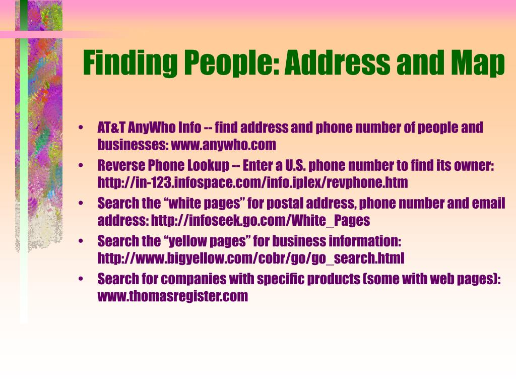 Finding People: Address and Map