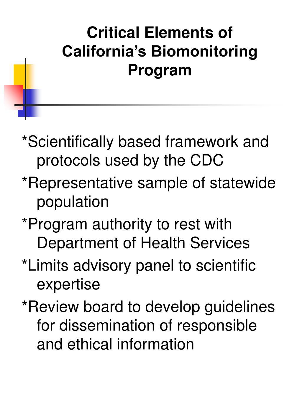 Critical Elements of California's Biomonitoring Program